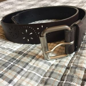 Ladie's Dark Brown Floral Cutout Belt